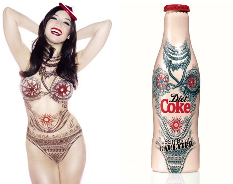 Daisy Lowe flaunts her enviable curves while bringing to life Jean Paul Gaultier's tattoo bottle design for Diet Coke