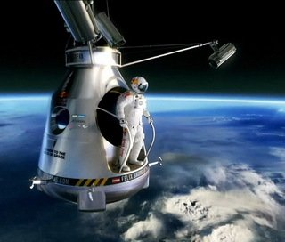 Felix Baumgartner has lifted off on his mission to break a series of freefall records