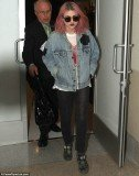 Frances Bean Cobain looked quite the rocker as she walked through Los Angeles International Airport