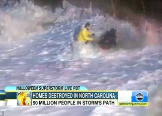 Good Morning America reporter Matt Gutman got a little too close and personal with Hurricane Sandy while reporting on the storm