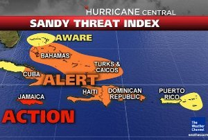 Hurricane Sandy has strengthened into a strong category two as it makes landfall in south east Cuba photo