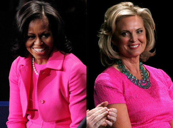 Michelle Obama and Ann Romney wear identical hot pink outfits at presidential debate