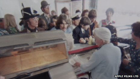 Previously unseen footage of The Beatles sharing fish and chips while filming their 1967 film Magical Mystery Tour
