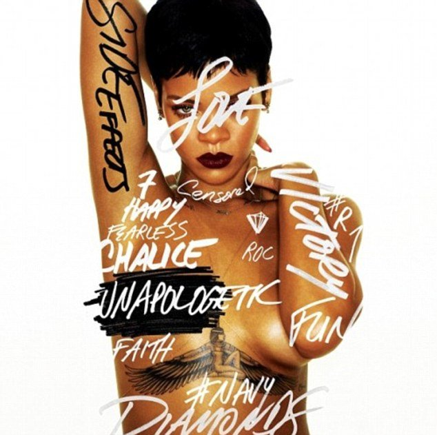 Rihanna posted the front cover for her seventh album Unapologetic