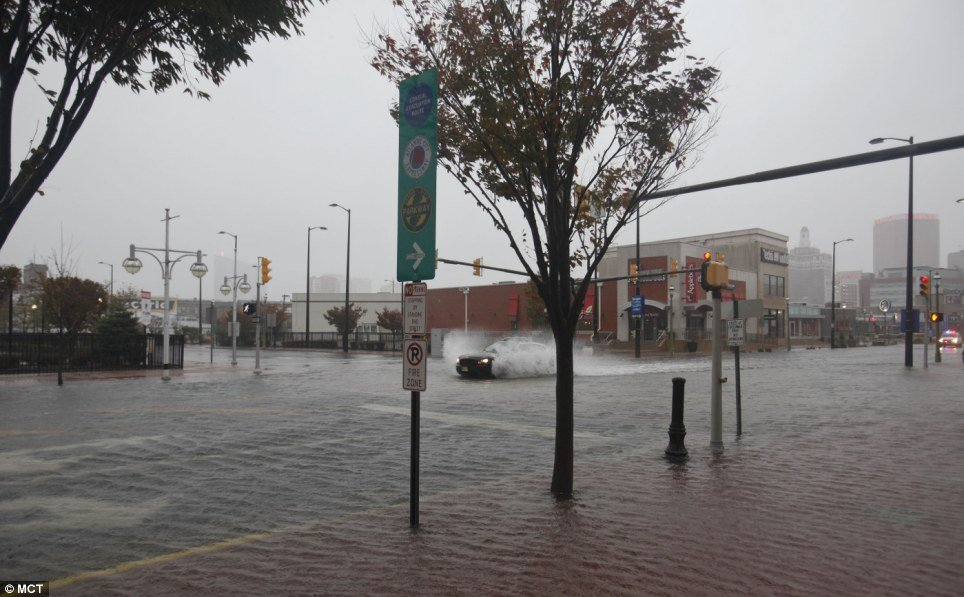 Rising waters put most of Atlantic City under water on Monday as the approach of Hurricane Sandy flooded towns up and down the New Jersey shore