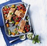 Roast salmon with peppers and pesto cream