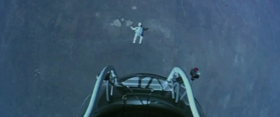 Video cameras relayed the moment Felix Baumgartner stepped from his balloon capsule to begin his fall to Earth