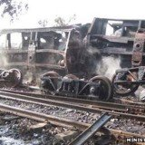 A train carrying liquid fuel has crashed and burst into flames near Kantbalu, central Burma, killing at least 25 people and injuring dozens