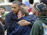Barack Obama toured parts of New Jersey struck by the storm with Republican Governor Chris Christie