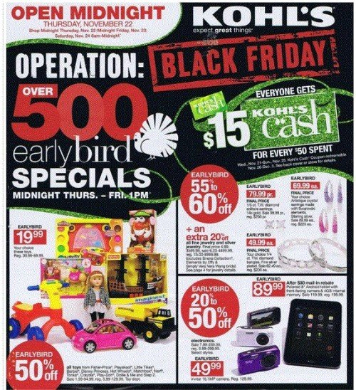 Black Friday 2012 Early Bird Specials
