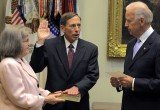 David Petraeus was sworn in as CIA chief in September 2011 by Joe Biden with his wife Holly at his side