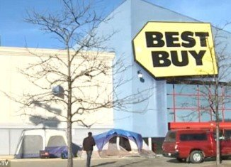 Eager bargain hunters camp out for Black Friday more than a week before the Christmas shopping extravaganza kicks off