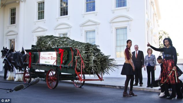 First Lady Michelle Obama has kicked off the holiday season by welcoming the White House Christmas Tree to her home