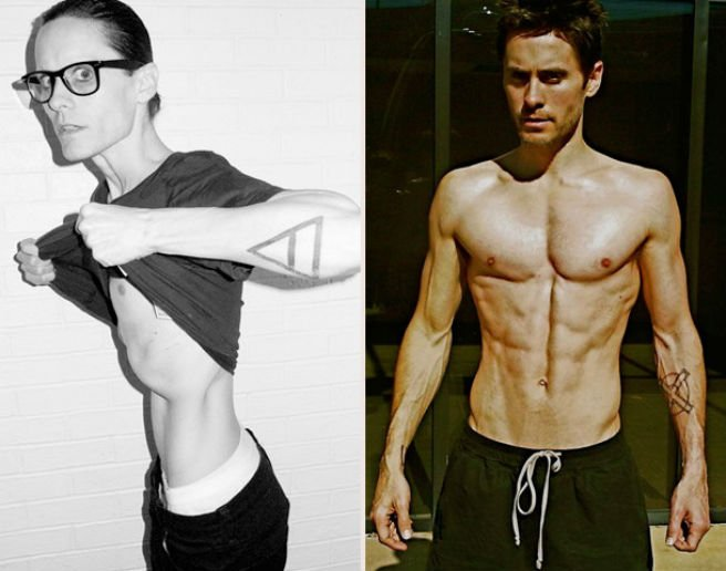 Jared Leto has revealed his shockingly skinny frame after starving himself for a month to play the role of a HIV-positive transsexual woman in the Dallas Buyers Club
