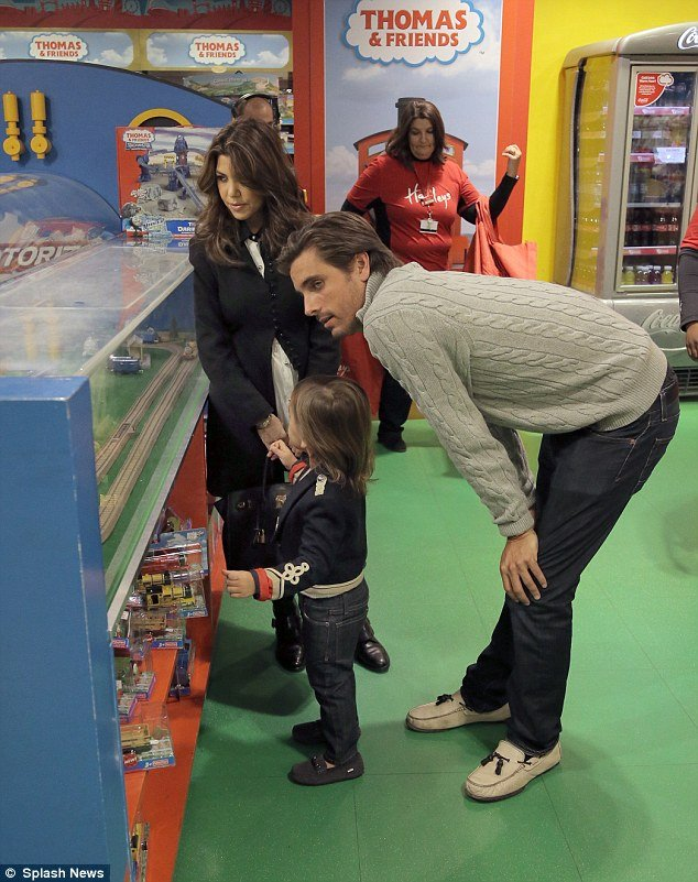 Kourtney Kardashian treated her son Mason to a trip to Hamleys on Friday, bringing her partner Scott Disick along for the fun outing