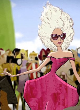 Lady Gaga appears in the animated film Electric Holiday that will be shown at Barneys Madison Avenue store in New York on November 14