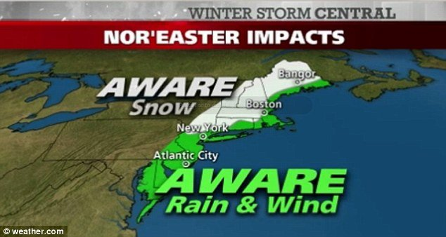Nor'easter storm on Wednesday threatens to bring chilly temperatures and even snow