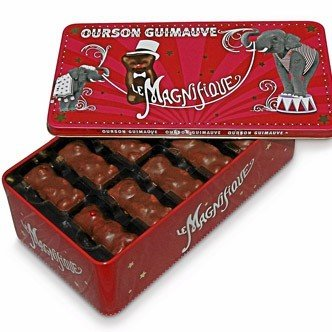 Oursons guimauve are small chocolate-covered marshmallow teddy bears