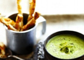 Pea and courgette soup with cheese straws