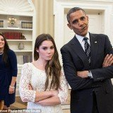 President Barack Obama playfully put on McKayla Maroney's trademark scowl for a photo with the gold medalist