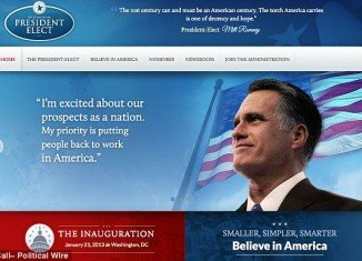 Romney victory site has a seal of The Office of the President Elect and had a quote on the top signed by President-Elect Mitt Romney