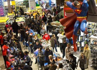 Shoppers queued up at Toys R Us in New York's Times Square on Thursday evening