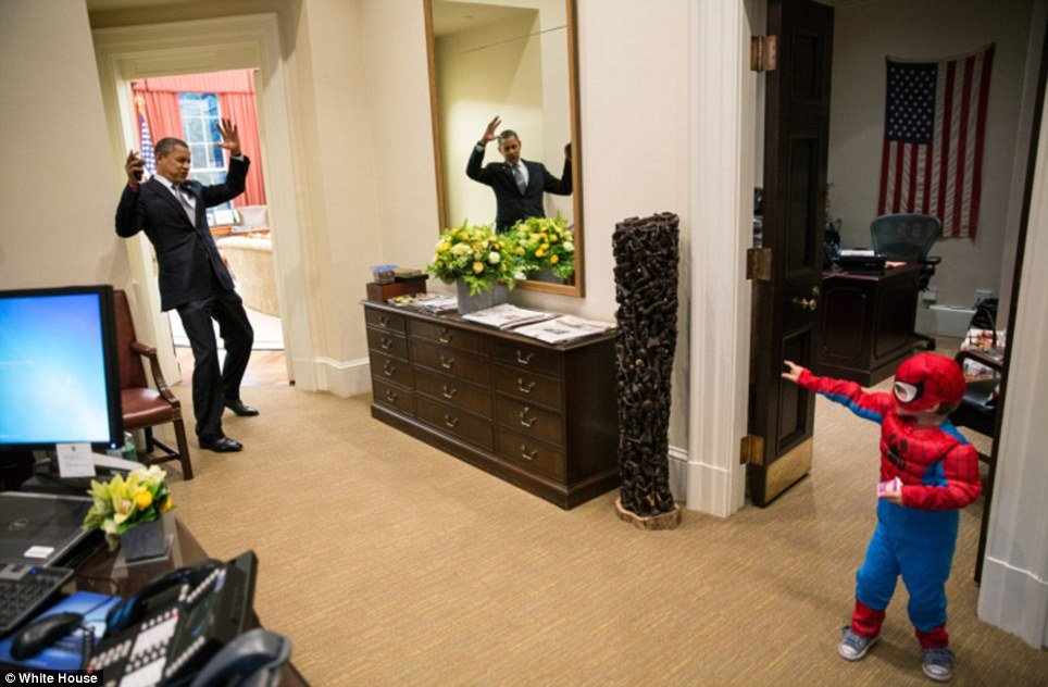 Barack Obama caught in the web of Spider-Man in never seen before picture