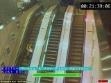 In a CCTV video from Network Rail, one woman is seen at London Euston performing what has been dubbed the reverse plank
