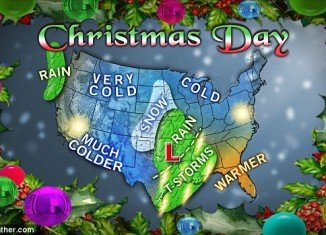 Meteorologists predict snowfall could blanket nearly half of the US on Christmas Day