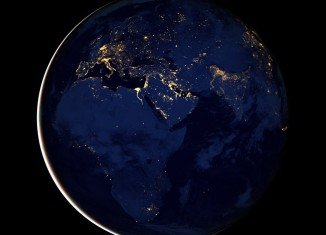 Night-time view of Earth, called Black Marble, assembled from a series of cloud-free images acquired by Suomi satellite