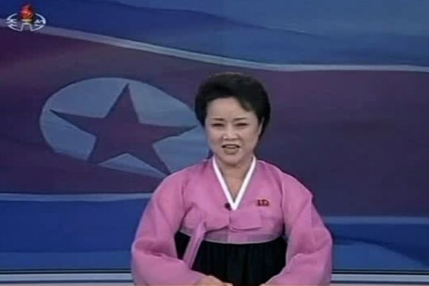 North Korean animated female anchor appears exhilarated as she describes the rocket launch, which was reported by state media as the successful positioning of a weather satellite in space