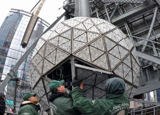 The Times Square New Year's Eve Ball got a facelift on Thursday, four days before the ball drop ceremony that will ring in the new year