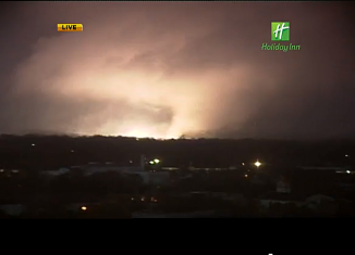 WALA-TV's tower camera captured the image of a large funnel cloud headed toward downtown in Mobile, Alabama