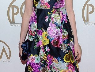 Anne Hathaway's latest ensemble seemed swamped in heavy material as she stepped out on Saturday evening for the Producers Guild Awards