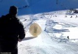 Denis Burakov was killed in a horrifying accident when a giant inflatable ball plunged off a cliff at Dombai ski-resort