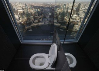 From the toilet in The Shard you can marvel at landmarks including the Tower of London and HMS Belfast as you gaze across the River Thames