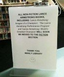 Manly library sign saying that all of Lance Armstrong's non-fiction will soon be moved to the fiction section has sparked approval online