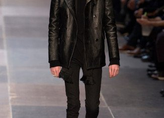 Shockingly thin male model on the catwalk at YSL