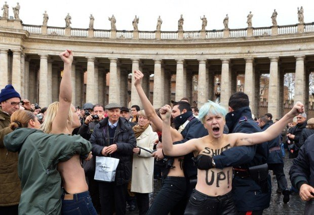 Femen activists protest at Vatican