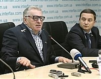 Vladimir Zhirinovsky was pelted with sour cabbage during a news conference in the Ukrainian capital Kiev