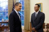 Barack Obama played golf with Tiger Woods in Florida on Sunday as he took a break from work during President's Day weekend