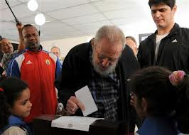 Former Cuban leader Fidel Castro has voted in countrys parliamentary elections the first time the frail ex leader has been seen in public for several months photo