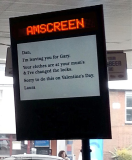 Laura paid to display the message at an Esso garage in Manchester because she knew her boyfriend went there every day for his lunch so he would see it