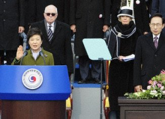 Park Geun-hye was sworn in as South Korea's president promising a tough stance on national security and an era of economic revival