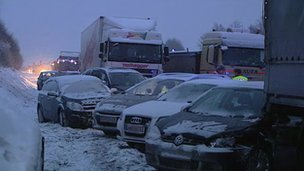 At least one person died in a pile up involving about 100 vehicles on snow hit Austrian motorway A1 photo