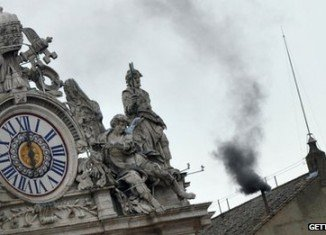 Black smoke has poured from Sistine Chapel chimney, signaling that the second and third votes in the Papal election have been inconclusive