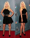 Christina Aguilera showed off a significant weight loss in a little black and white dress at The Voice Season 4 premiere