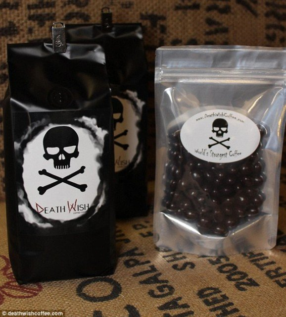 Death Wish, a medium-dark roast coffee blend roasted in up-state NY, claims to be the most highly caffeinated premium dark roast organic coffee in the world
