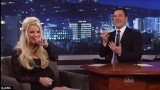 Jessica Simpson accidentally revealed that she's expecting a baby boy during an interview on Jimmy Kimmel Live on Wednesday