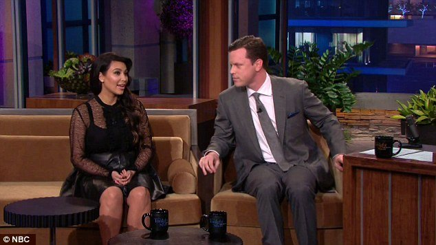 Kim Kardashian appeared on The Tonight Show where she was grilled by Jay Leno about the ups and downs of her first pregnancy and what kind of dreams she has for her unborn baby photo